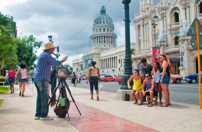 Turist at Capitol Building of Havana
