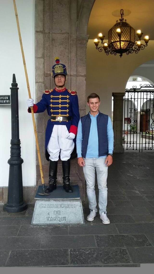 Main Square Quito tourist with Guard